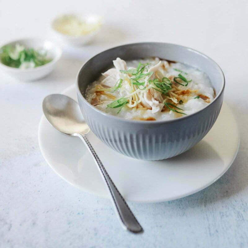 porridge gingembre poulet avec du riz rond japonica akafuji