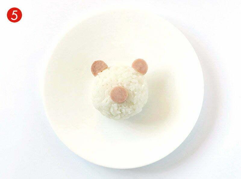 étape de la recette de Kyaraben avec du riz rond japonica akafuji